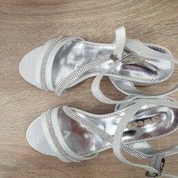 Босоножки, сандалии - Новые красивые серебристые,со стразами босоножки для девочки,р 34,произв.Турция, 0