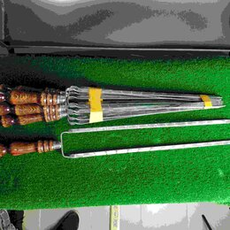 Шампуры - Двойной шампур с деревянной ручкой (шампур-вилка), 10х3 мм, 55 см, 0
