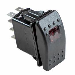 Электроустановочные изделия - Переключатель трехпозиционный ON-ON-ON 12В/20А 8Р с подсветкой 2-х положений, 0