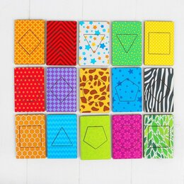 Дидактические карточки - Деревянные карточки 'Фигуры' набор 15 карточек 5,5 х 8,3 см, 0