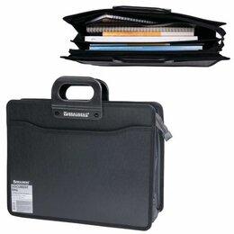 Рюкзаки, ранцы, сумки - Портфель пласт.  4 отд. Brauberg, черный, фактура под дерево, 390*320*120мм, 0
