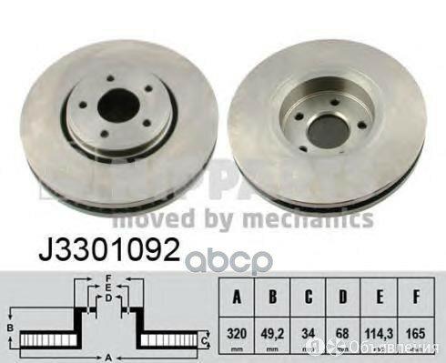 Диск Тормозной Infiniti Fx35/Fx45 03- Передний Вент.D 320мм. Nipparts арт. J3... по цене 2994₽ - Тормозная система , фото 0
