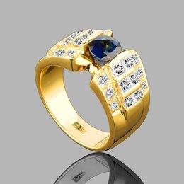 Комплекты - Золотое кольцо с бриллиантами и сапфиром , 0