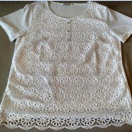 Блузки и кофточки -  Белая х/б кофточка с коротким кружевным рукавом, 0