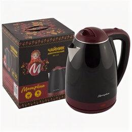 Электрочайники и термопоты - Чайник электрический Матрена MA-122 черный (диск, 1,8л) 1,5кВт, нержавеющая с..., 0