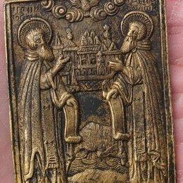Иконы - медная икона Святые Апостолы, миниатюра,19 век, 0