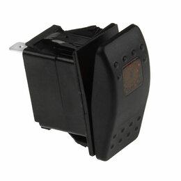 Электроустановочные изделия - Переключатель трехпозиционный (ON)-OFF-ON 12В/20А 4Р с подсветкой без фиксаци..., 0