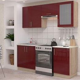 Мебель для кухни - Гарнитур кухонный Гамма-2. Бренд; Баронс. Бордовый глянец., 0