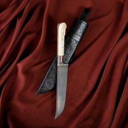 Ножи кухонные - Нож Пчак Шархон малый, рукоять из кости (ёрма), гарда с гравировкой, 0