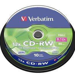 Прочие аксессуары - Verbatim Диск CD-RW VERBATIM 700 Mb 8x-12x CB10, 0