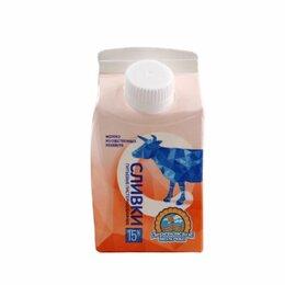 Продукты - Сливки Деревенское молоко питьевые 15% 0,23 л, 0