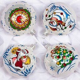 Ёлочные украшения - Набор стеклянных шаров «Морозный» 4шт.75мм, подар/коробка, 0