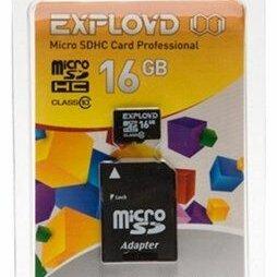 Карты памяти - 16 GB micro SD Class 10+SD adapter EXPLOYD, 0