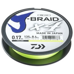 Леска и шнуры - Леска плетеная Daiwa J-Braid X4 135м 0,29мм желтая, 0