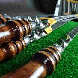Шампуры - Шампур с деревянной ручкой для люля, 20х3 мм 60 см, 0