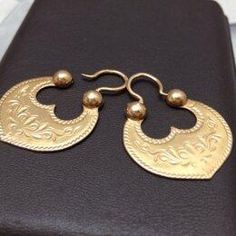 Серьги - Золотые серьги 585 пробы массой 5,8 грамма, 0