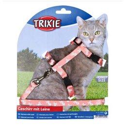 Шлейки и ошейники  - Trixie шлейка с поводком д/кошек,22-42см/10мм, 0
