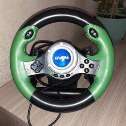 Рули, джойстики, геймпады - Игровой руль с педалями Sven зелёный, 0