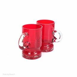Кружки, блюдца и пары - Кружки рубинового стекла ручной работы, 0