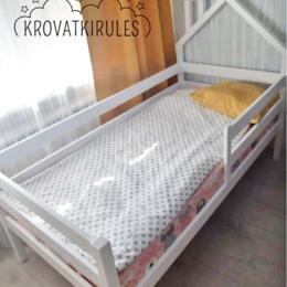 Кроватки - Детская кровать домик с мини крышей новая, 0