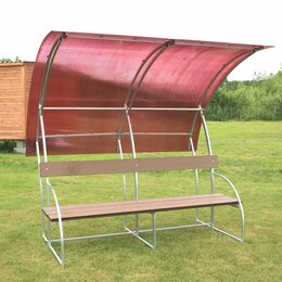 Столы - Лавочка с навесом Агросфера Ландыш, СПК 4мм Оранжевый, Террасная доска, 0