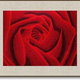 Картины, постеры, гобелены, панно - Картина вышитая шелком Красная роза - символ любви Размер 64 х 51 см, 0