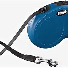 Поводки  - FLEXI рулетка NEW CLASSIC L (до 50 кг) лента 5 м синяя , 0
