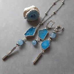 Комплекты - Комплект украшений с друзами агата и кварца - Голубая гладь, 0