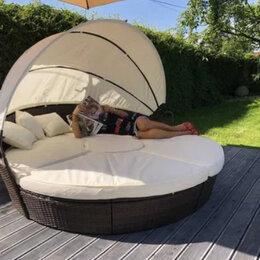 Лежаки и шезлонги - Кровать шезлонг круглая, садовый лежак из ротанга 210, 0
