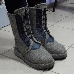 Одежда и обувь - Войлок берцы на шнуровке, натуральный мех овчина, 0