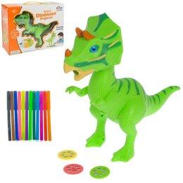 Проекторы - Проектор «Динозавр» 2 в 1, 3 слайда, альбом, 12 фломастеров, 0