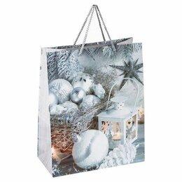 Упаковочные материалы - Пакет  бумаж/лам  26*12.7*32.4см, Серебристые шары, 0