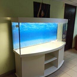 Аквариумы, террариумы, тумбы - Полукруглый аквариум 750 , свет биофильтр фон подставка, 0