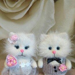 Мягкие игрушки - Вязаные котики ( свадебная парочка)  ручная работа , 0