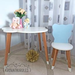 Столы и столики - Комплект - детский стульчик медвежонок и столик облачко, 0