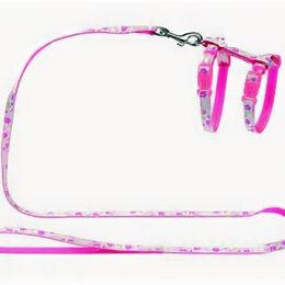 Шлейки  - HUNTER SMART шлейка для кошек и собак RETRO FLOWER нейлон розовая , 0