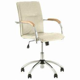 """Кресла и стулья - Кресло """"Samba GTP"""", деревянные накладки, хром, кожзам бежевый, 0"""
