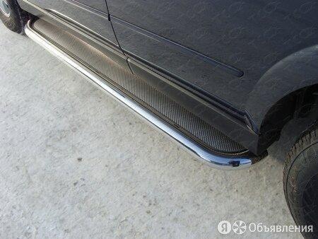 Пороги с площадкой (нерж. лист) 60,3 мм на Ssang Yong Kyron 2007-3000 по цене 25790₽ - Кузовные запчасти , фото 0