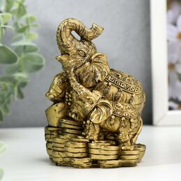 Статуэтки и фигурки - Нэцкэ слон со слоненком расписные хоботы вверх на монетах Т-456А (бокс 60 шт), 0