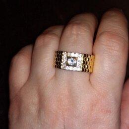 Кольца и перстни - Кольцо 750 пробы серебра с позолотой.Мужское., 0
