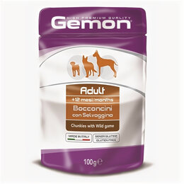 Корма  - GEMON DOG POUCH паучи для собак кусочки дичи 100г , 0