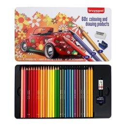 Письменные и чертежные принадлежности - Карандаши цветные Bruynzeel 'Машина' 58 карандашей + ластик + точилка, в мета..., 0