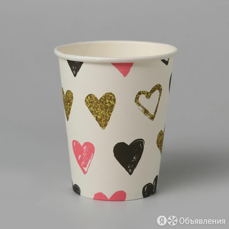 Стаканы Сердца, 6шт, 18см по цене 100₽ - Одноразовая посуда, фото 0