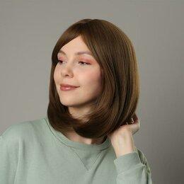 Аксессуары для волос - Queen fair Парик искусственный, с чёлкой, имитация кожи, 30 см, цвет русый, 0