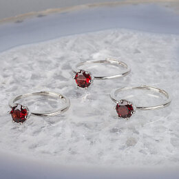 Свадебные украшения - Кольцо с Гранатом (7,5 мм, Гранат, Индия, Граненый, Бижутерный сплав, от 18р...., 0