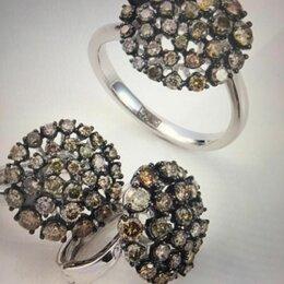 Комплекты - Комплект серьги и кольцо, золото 585, бриллианты, 0
