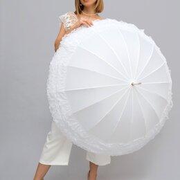 Зонты и трости - Зонт-трость белый с рюшами, 0