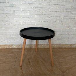 Столы и столики - Стол журнальный круглый пластик+дерево, черный, 0
