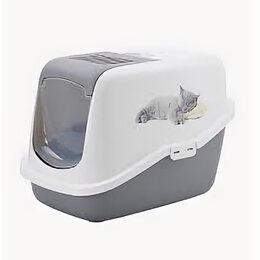 Туалеты и аксессуары  - SAVIC Туалет-домик NESTOR IMPRESSION, спящий котенок, серый 56*39*38.5см S0229 , 0