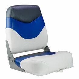 Походная мебель - Кресло мягкое складное Premium, обивка винил, цвет белый/синий/угольный, Mari..., 0